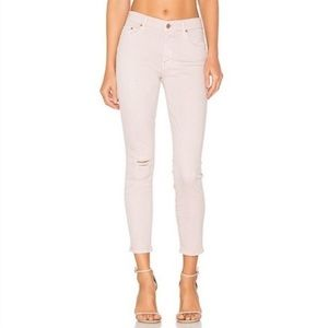 Mother Jeans Blush The Looker Crop Distressed